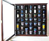 41 Shot Glass Display Case Holder Cabinet Wall Rack with Glass Door, Walnut Finish (SC03-WA)