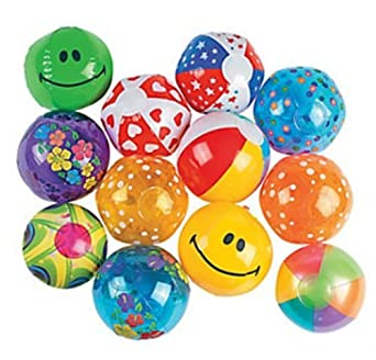 "Mini Beach Inflatable Balls - 25 Count - 5"" beach balls"