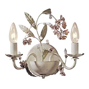 Laura Ashley WBLS0271 Blossom 2-Light Wall Light, Antique Ivory