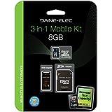 8 GB , MicroSD : Dane DA-3IN1C1008G-R 8GB MicroSD C10 With 2 Adapters