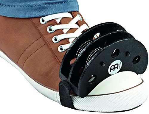 Meinl Percussion FJS2S-BK Foot Tambourine with Steel Jingles, Black