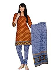 Araham Brown and Purple Printed 100% Cotton Unstitched Salwar Suit Dress Material