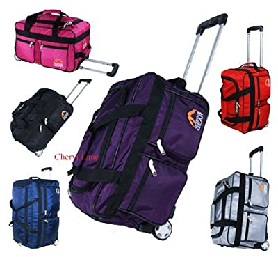 "Mens Womens 18"" Hand Luggage Wheeled Holdall Flight Travel Suitcase Weekend Bag (Black/Navy/Red/Pink/Purple/Silver) (Navy)"
