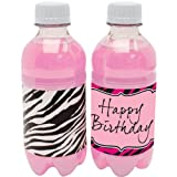 Creative Converting Pink Zebra Boutique Water Bottle Labels, 8 Labels Per Package