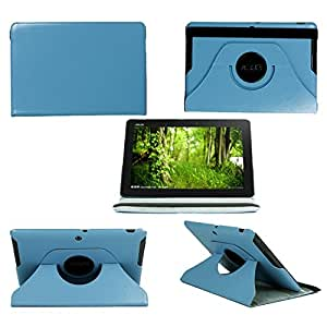 Angelina(TM) Durable And Advanced Premium PU Leather Case Cover 360 Degree Rotating Stand Smart Folio with Multi-angle Stand Sheath and Elastic Strap Closure with Auto Sleep Wake Function for Asus MeMO Pad 10 ME102A 10 inch Light Blue