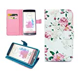 LG G3 Case,Nancy's Shop Sparkle Pattern Premium Pu Leather Wallet [Stand Feature] Type Magnet Design Flip Protective Credit Card Holder Pouch Skin Case Cover for LG G3[NOT for LG G3 vigor/Vista] (Built-in Credit Card/id Card Slot)-(White Flowers Nancy's Shop Lg G3 Case Cover)