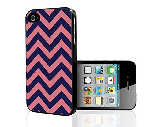 Salmon Pink and Navy Blue Chevron Print Hard Snap on Phone Case (iPhone 4/4s)