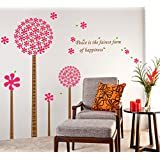 Decals Design 'Flowers In Pink Pandora Blowing Leaves With Peach And Happiness' Wall Sticker (PVC Vinyl, 50 Cm...