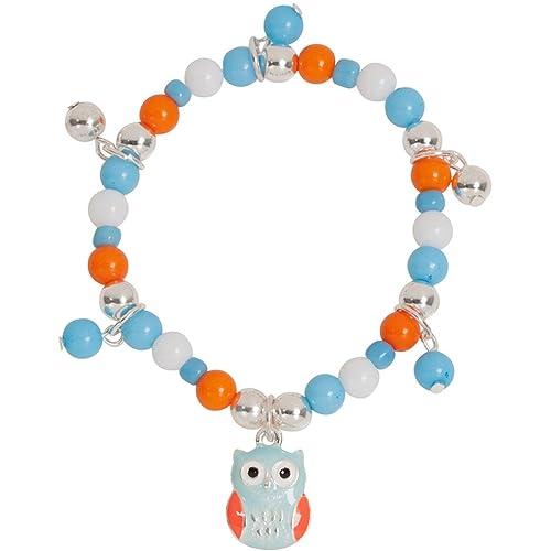 Heirloom Finds Girls Adorable Big Eye Owl Enamel Charm Stretch Bracelet