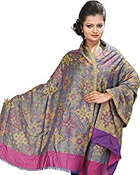 Exotic India Womens Viscose Stoles ,Blue ,Free Size