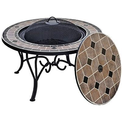 La Hacienda Pompei - Fire Pit Converts To Table - Mosaic Mesh Cover D 76cm by La Hacienda