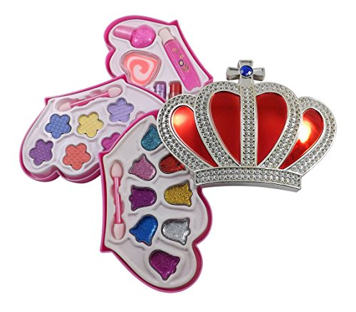 Petite Girls Royal Crown Shaped Cosmetics Play Set - Fashion Makeup Kit for Kids - 1