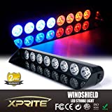 Xprite Gen 4 Red and Blue 24W 24-LED Strobe Light for Law Enforcement and Security - Suction Cups for Mounting, Cigarette Power Plug, 16 Flash Patterns
