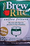 "Disc Coffee Filter 3.5"" and 3"" Percolator 1/2 CASE 600 count ct Brew Rite U.S.A. made by Rockline Industries"