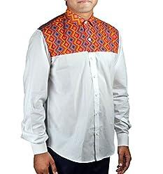 Riverbero Men's Casual Shirt (SN_DFS_211_White_40)