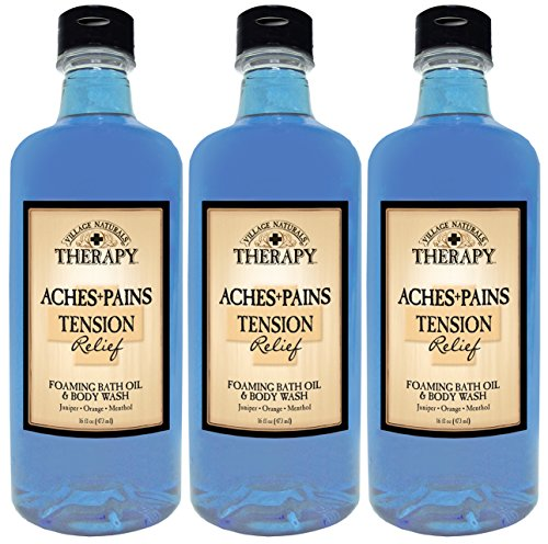 Village Naturals Therapy Aches and Pains Tension Relief Foaming Bath Oil and Body Wash 16 Fl Oz (3-pack) (3)