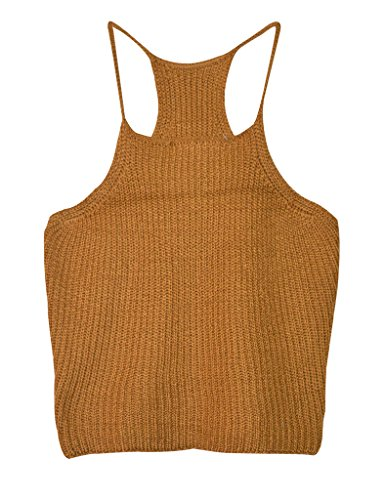 Aphratti Women's Sleeveless Strap Style Crochet Crop Top Shirt Khaki (Cute Cheap Crop Tops compare prices)