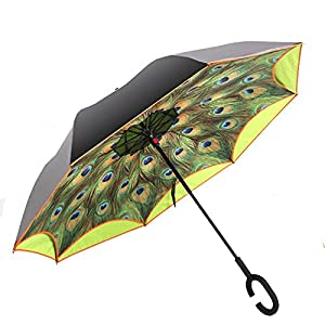 Ylovetoys Double Layer UV Proof and Windproof Inverted Umbrella for Car Outdoor (Green Peacock Feathers)