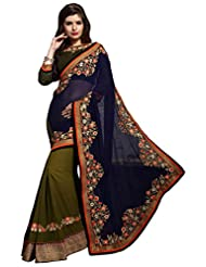 Manvaa Women's Embroidered Half Half Saree With Blouse Piece