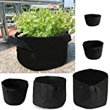 Tinksky Plant Pots Soft Fabric Container Planter Bag Foldable(Black 20 gallon)