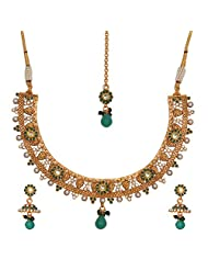 HK Inc's Gold Plated Silver Based Polki Necklace In Emerald And Pearl With Earring For Women