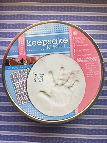 Colorbok Keepsake Imprint Air Drying Clay Kit with 1 Molding Clay 1 Tin 1 Sticker Sheet and 1 Colored Chalk Great for Baby's Hand Foot or Pet Paw Print (1 Each) - 1