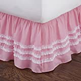 Pink Ruched Full Bed Skirt