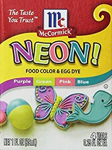 1 X Neon Purple Green Pink Blue 4-pack Food Color
