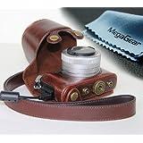 MegaGear Etui souple en cuir pour, Housse pour Panasonic LUMIX DMC-GM1 avec 12-32mm Objectif (Brun Foncé)