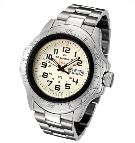 Armourlite ShatterProof Glass Tritium Watch with Steel Band AL51
