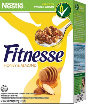 2 Of Nestle Fitnesse Crispy Cereal Covered In Honey With Toasted Almond - Whole Wheat Low Fat Flakes & Honey And Almond Breakfast (225 G. X 2)
