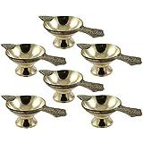 Navisha Set Of 6 - Handmade Indian Puja Brass Oil Lamp - Diya Lamp (4''/2'' Size)