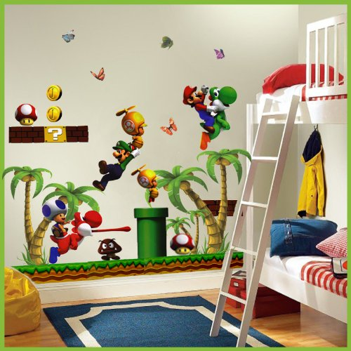 Super Mario Wall Stickers With Palm Tree Decor Decal Art For Kids Nursery Bedroom, Comes in 2 Packs