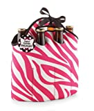 Mud Pie Bachelorette 6-Pack Carrier, Pink Zebra