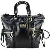 Coach Black Daisy Liquid-Gloss Pocket Tote Bag #F20047