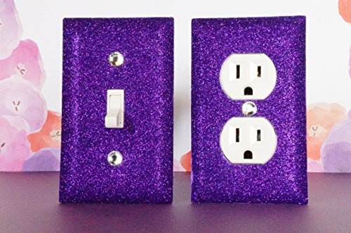 Purple Glitter Switch Plate Outlet Covers Set Of 2. All Styles Available! front-918369