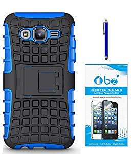 TBZ Hard Grip Rubberized Kickstand Back Cover Case for Samsung Galaxy On5 with Screen Guard and Stylus Pen -Blue