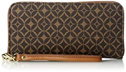 Fossil Sydney Signature Zip Wallet, Multi Brown, One Size