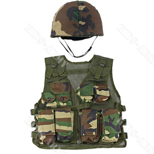 Kids-Army Helmet And Kids Combat Vest
