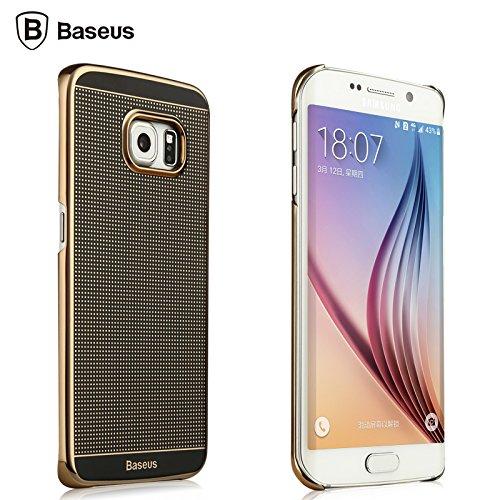 Baseus Aluminum Alloy Metal Frame Transparent Dot Hard Plastic Case for Samsung Galaxy S6 Edge Thin Cover (Gold)