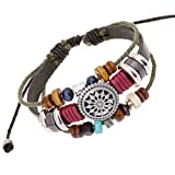 Bluegrass Unique Totem of the Sun Handmade Braided Adjustable Leather Bracelet
