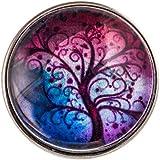 Morella Damen Click-Button Wunder Baum in blau- und rottönen