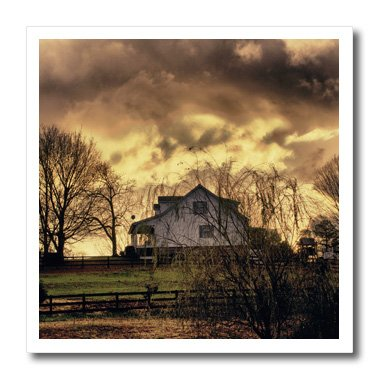 Angel Wings Designs Scenic - Landscapes - Storm clouds over an old farm house in Georgia - Summer Clouds - 10x10 Iron on Heat Transfer for White Material (ht_48675_3)