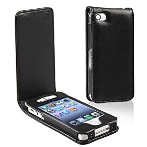For iPhone 4 Vertical Flip Leather Pouch Case BLACK