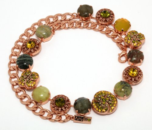 Israeli Amaro Jewelry Studio 'Genesis' Collection Necklace Beautifully Made with Labradorite, Citrine, Desert Jasper, Taiwan Jadeite, Yellow Turquoise, Swarovski Crystals; 24K Rose Gold Plated