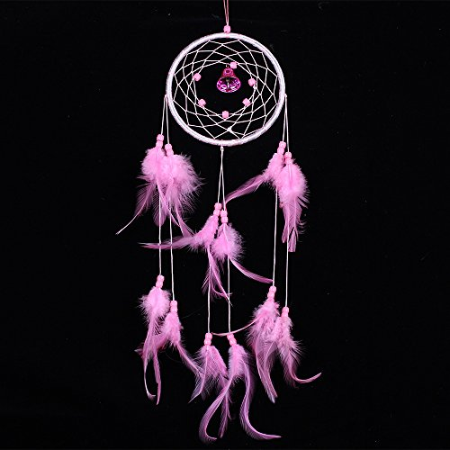 YDTEK India Style Handmade Dream Catcher Circular Net With feathers Wall Hanging Decoration Decor Craft Gift Dream (pink)