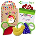 Baby & Infant Teething Pain & Gum Soreness Relief Educational Toy Massaging Teethers Set Of 3 By WIMMZI - Premium Quality, Durable, Food Grade, BPA Free, Silicone - Fruit Patterns, Ergonomic Ring Design - Striking Colors - Freezer & Dishwasher Safe by Wim
