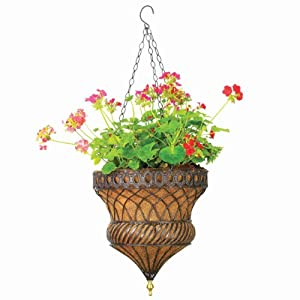 Austram 106881 Queen Anne Parasol Hanging Planter, Hammared Bronze
