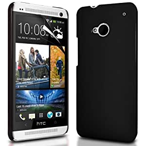 Cubix Black Matte Hard Case Back Cover for HTC One Dual Sim (Ultra Thin Rubberized)