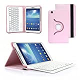 CoastCloud 360 Degree Rotating Wireless Bluetooth Keyboard for Samsung Galaxy Tab 3 8.0 Keyboard and Samsung T310 Keyboard for Samsung Galaxy Tab 3 8.0 Case and SM-T311 SM-T315 Samsung T310 Case With Vertical and Horizontal Stand Pink